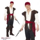 "FANCY DRESS COSTUME # ADULT PIRATE MAN BUCCANEER SHIPMATE XL 46"" - 48"""